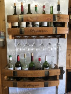 Long Stave Wine Rack 'Sip Happens'